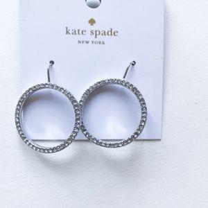 kate spade new york Silver-Tone Crystal Door Hoops
